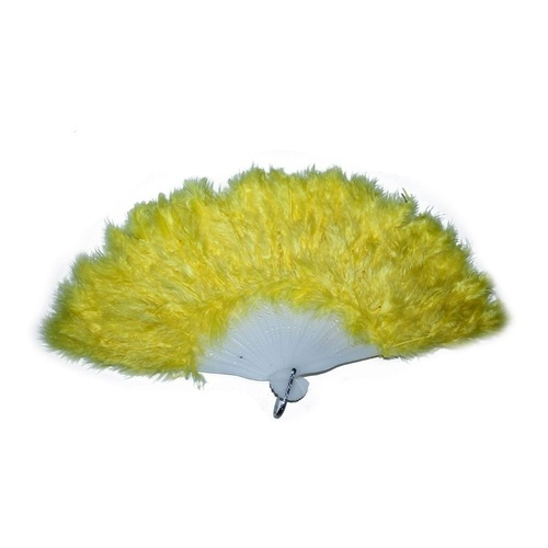 5 x Yellow Feathered Fan, for Dance Groups, Theatre, Show Girls / Theming MQ-350