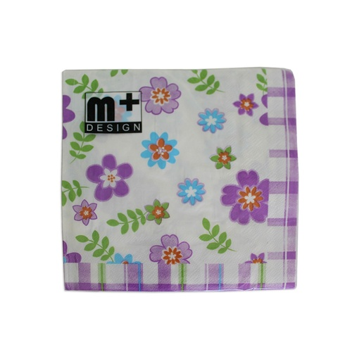 20 Pack Floral with Purple Check Design 2 ply Premium Party Napkins 33x33cm Serviettes Disposable