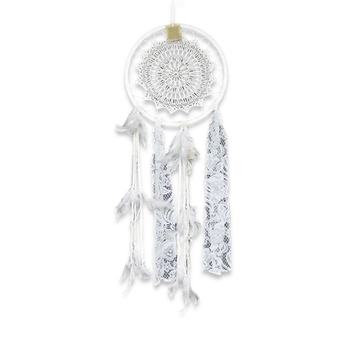 28cm Dream Catcher with Handmade Crochet Star Motif with Lace and Feather Decoration