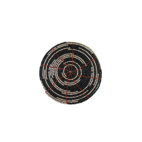10cm Handmade Glass Beaded Coaster, in Two Tone Design with Metallic Finish Black/Silver