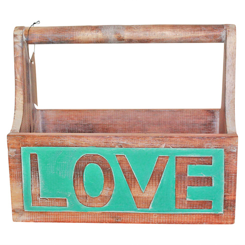 1pce Wooden Carry Box, Turquoise and Natural, Hand Made, Beach House Love