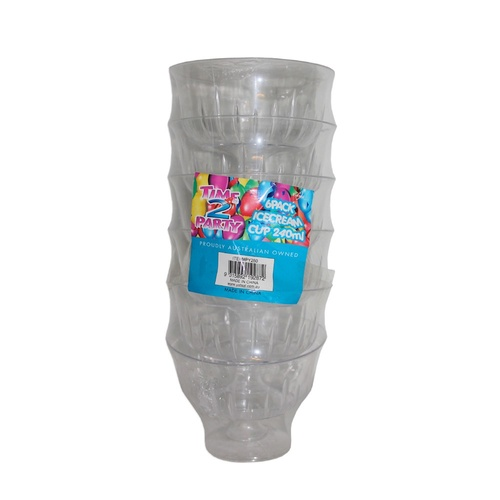 6PCE Clear Plastic 240ml Icecream Cup, Great for Party Events