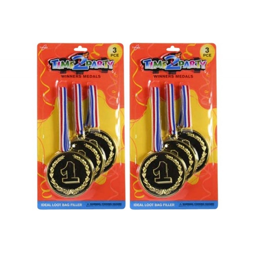 3pce Gold Medals- 7.5cm - Party Loot Filler