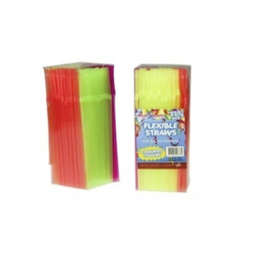 225pce x Plastic Flexible Straws - 20cm in box. 4 Colours. Parties and Birthdays