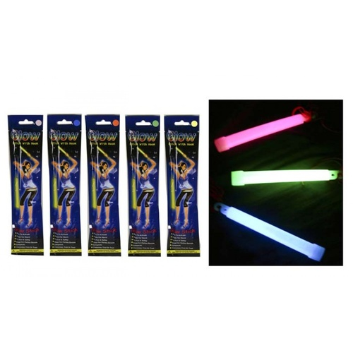 4pce Glow Sticks w/ Hole to Fit into Necklace -15cm  Colours Chosen Randomly Party Sticks
