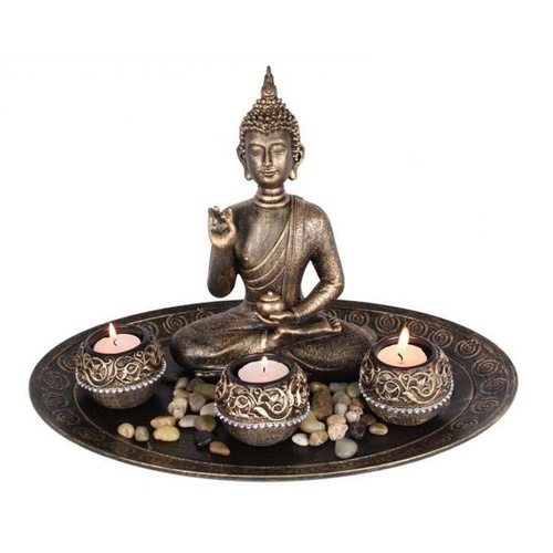 37cm Diameter Golden Buddha 4 Tealight Holders & River Rocks on Decorative Plate