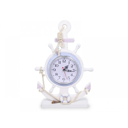 33cm Anchor Clock Beach Theme Wooden with Rope around Face
