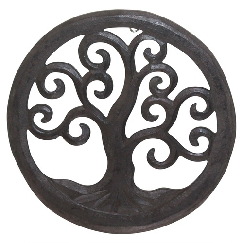 Hand Carved Tree of Life Hanging Wall Art Piece Wooden in Dark Brown-20cm