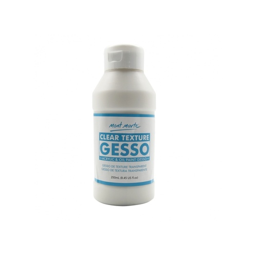 Mont Marte Clear Texture Gesso 250ml for Surfaces with a Transparent Finish