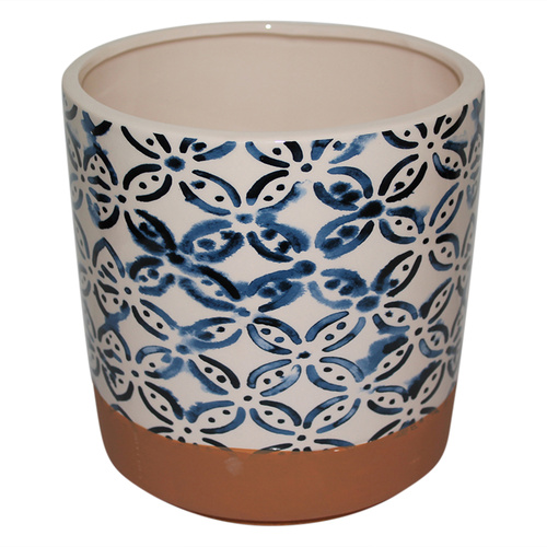 New 1pce Indego Style Prints  Ceramic Flower Pot 16.5x17.5cmH Large [TYPE A]